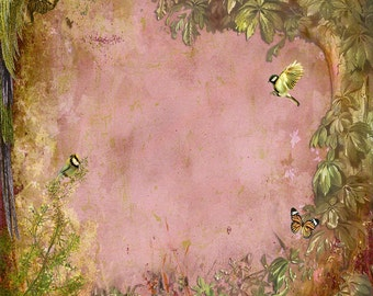 Vintage Floral Backdrop - Old Paper, fairy tale - Printed Fabric Photography Background G0151