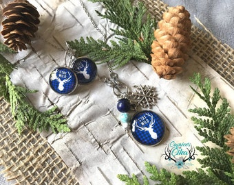 Necklace and sleeping earring set - hypoallergenic stainless steel - white deer on blue buffalo plaid