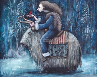 The Winter Queen Print, Snowy Forest, Winter Landscape, Long Haired Yak, White Yak, Blue Frost, Dark Winter, Red Cardinal, Fairy Tale Art