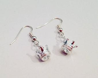 Sterling Silver Queen's Crown Charm Earrings