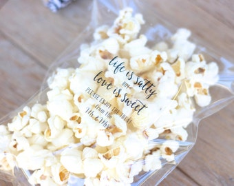 Life is Salty-Love is Sweet Popcorn Wedding Favor Stickers. Sweet. Salty. Love. Wedding-Shower-Engagement Favors. 20 Stickers