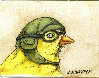 Birds in helmets n0.2 ~ watercolor print
