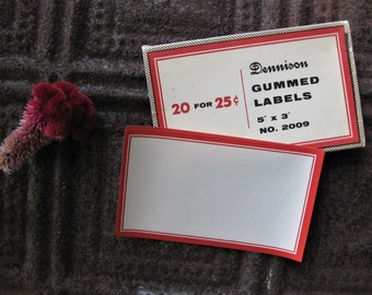"Quite Possibly World's Largest Dennison Red Bordered Gummed Labels, Set of 4 - BIG 3"" x 5"""