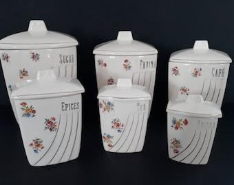 Set of 6 spice jars vintage 30s