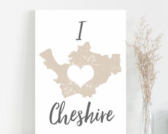 Map of Cheshire print wall map art mapping of Cheshire poster wall art typography map
