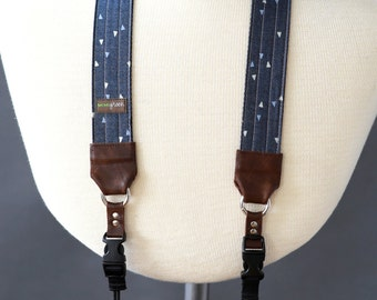 Denim DSLR Camera Strap with Camera Hand Strap -- 1.5 inches wide -- Best Camera Strap -- The 'Sailor'