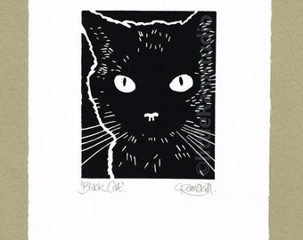 Black Cat- Linocut Original hand pulled Relief Print