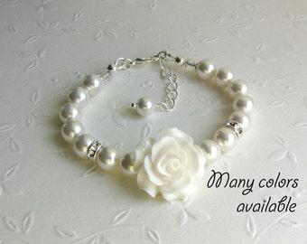 Flower Girl Bracelet, Junior Bridesmaid Bracelet, Flower Girl gifts from Bride from Groom Pearl Flower Girl Bracelet Wedding Jewelry Toddler