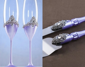 Purple Wedding Glasses Purple Cake Cutting Set Champagne Flutes Christmas Glasses Winter Toasting Flutes Purple Vintage Cake Serving Set