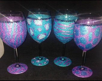 Set of 4 animal print glittered glasses