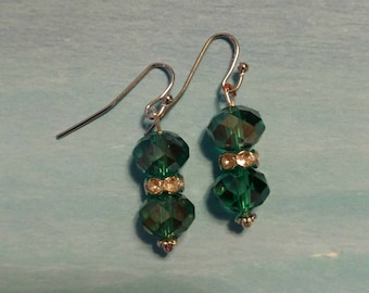 Swarovski Crystal AB Green Earrings