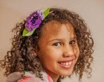 Felt Anemone Headband, Baby Headband, Flower Girl Headband, Flower Headpiece, Floral Crown, Girls Headband, Hair Accessory, Nylon Headband
