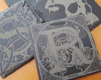 Custom Laser Engraved Slate Coasters - Set of 4