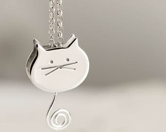 Sterling Silver Cat Necklace - Swinging Tail Cat Jewellery - Cat Lover Gift