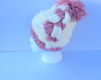 Soft Chunky Side Cable Hand Knit Beanie Hat
