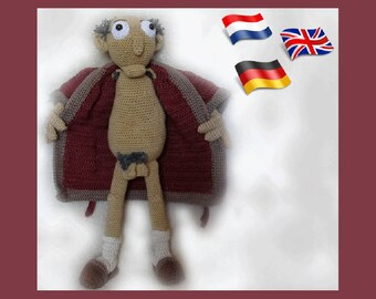 Dirty old man Gramps, amigurumi doll crochet pattern, crocheted dolls pattern, amigurumi PDF pattern, Instant download