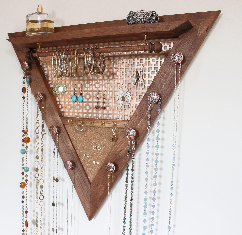 Triangle Jewelry Organizer Wooden Wall Hanging Jewelry Organizer