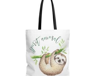 Sloth Shopping Bag, Sloth Tote, Spirit Animal, Sloth Tote Bag, Tote Bag, Tote, Sloth Bag, Spirit Animal Tote, Sloth Gift, Gift For Her