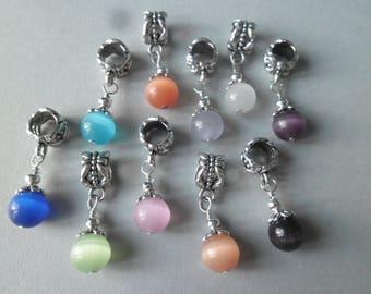 x 10 mixed Pearl pendants round CatEye glass 30 x 8 mm