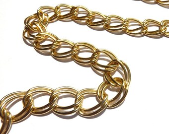 Gold metal chain double links to the métre RIV010 SF1639 GD