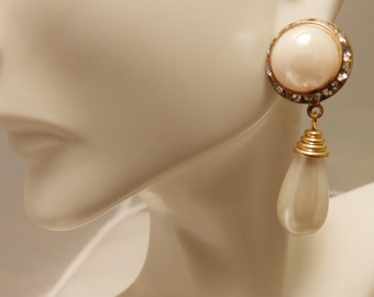Faux Pearl Rhinestone Long length Dangle Earrings