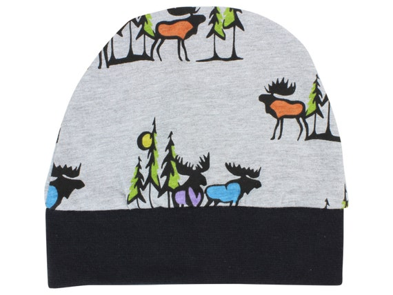 Moose Jersey Knit Boy Baby Beanie Hat Moose Unisex Baby Leggings Baby Newborn Beanie Toddler Beanie Slouch Beanie Fitted Beanie Baby Gift