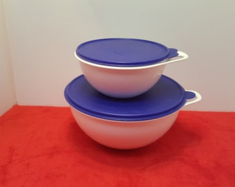 vintage tupperware thatsabowl, 32, and 12 cup / white with blue lids/ large tupperware mixing bowls