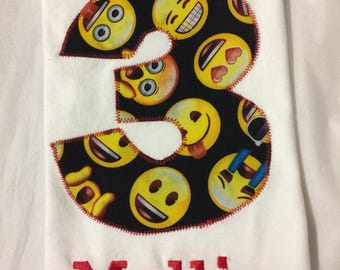 EMOJI EMOTICON BIRTHDAY Shirt, Girls or Boys Smiley face fabric personalized tshirt, Gift, Present, Party Favor, Number and Name