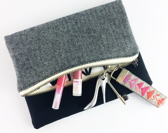 Handmade black and grey herringbone fold over clutch bag | Gift for her | Secret Santa | Handbag | Purse