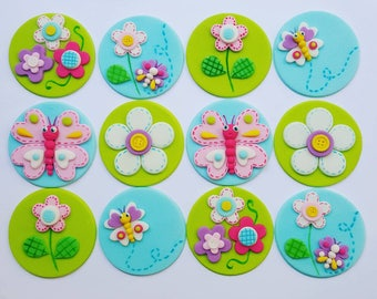 24 x floral butterfly garden  teaparty inspired fondant  Cupcake toppers