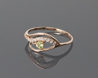 Eq Silvered Peridot Ring