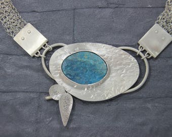 Andenopal Necklace, Turquoise blue, silver with hand knitted necklace