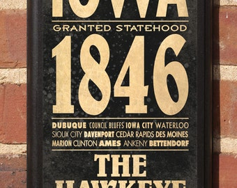 Iowa IA State Wall Art Sign Plaque Gift Present Personalized Color Custom Home Decor Vintage Style Des Moines Cedar Rapids City Classic