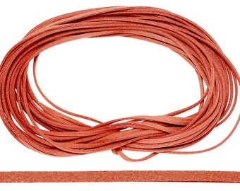 30 Ft 1.5x3 mm Dark Orange Color Faux Suede Flat Cord (SUE100114)