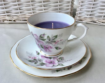 English fine China teacup candle trio hand poured scented candle