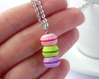 Cute stacked pastel pink green purple macaron necklace kawaii miniature food charm necklace macarons pendant