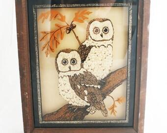 Hanging Art - 70's Framed Owl Art Brown sepia tones