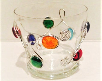 Candy Dish, Bowl, Nut Bowl, Condiment Bowl, Decoration, Wire Wrapped Bowl, Beaded Candle Holder, Party, Candy Dish, Rustic,Christmas Decor