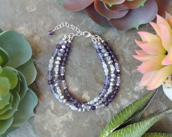 Beaded Bracelet - Bohemian Jewelry- Gemstone Bracelet- Boho Bracelet- Amethyst Bracelet for Women- Natural Jewelry- Lavender Purple Bracelet