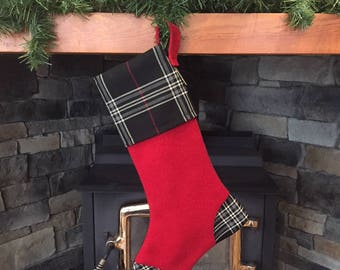 Christmas stocking, masculine stocking, Christmas décor, cabin décor, masculine décor, gift for him, tartan lined stocking, Christmas gift