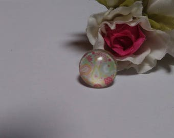 Set of 4 floral glass Cabochons