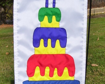 3 Layer Birthday Cake 12 inch by 18 inch Garden Flag
