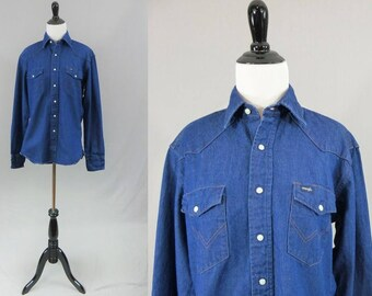 "80s Western Denim Shirt - Cotton Blue Jean Shirt - Long Sleeve - Snap Front - Wrangler - Vintage 1980s - 42"" chest"