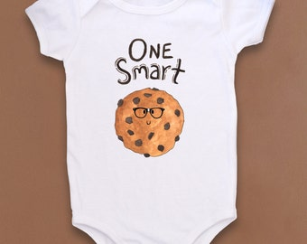 """Fun """"Smart Cookie"""" Baby bodysuit, funny baby gift, Smart Cookie Baby, Cute baby bodysuit, Smart Cookie, Chocolate chip cookies, Hipster baby"""
