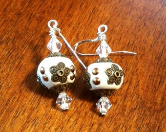 White and Crystal Earrings