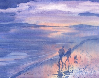 Border Collie dog 8x10 Susan Alison art print frm watercolor painting sheepdog leading th way strolling along the beach seaside walk evening