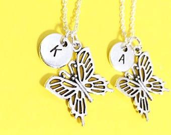 SET OF 2 Butterfly Necklace, Silver Best Friends Necklaces - Set of Two Friendship Necklaces Friend Charm Pendant Charm Best Friend Jewelry