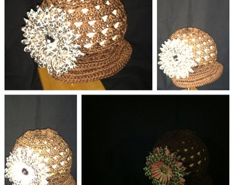 Crochet Hat with Brim and Flower