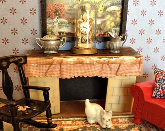 Vintage Miniature Ardee Fireplace from 1940's for 1:16 Scale Dollhouse (Contemporary of Renwal, Ideal, & Acme)