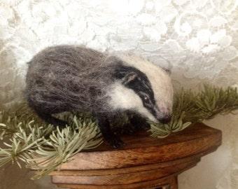 Made to Order - Needle felted Poseable Baby badger handmade animal wool woodland wildlife